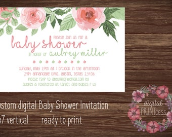 Personalized Baby Shower Invitation-7x5-pink and green flowers