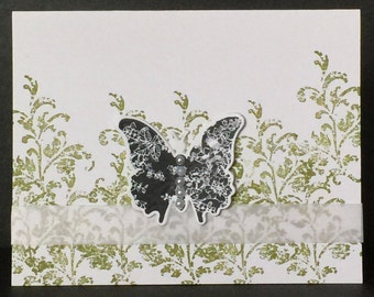 Handmade Greeting Cards-Fluttering Butterflies (Set of 5 Cards) Green Notecards