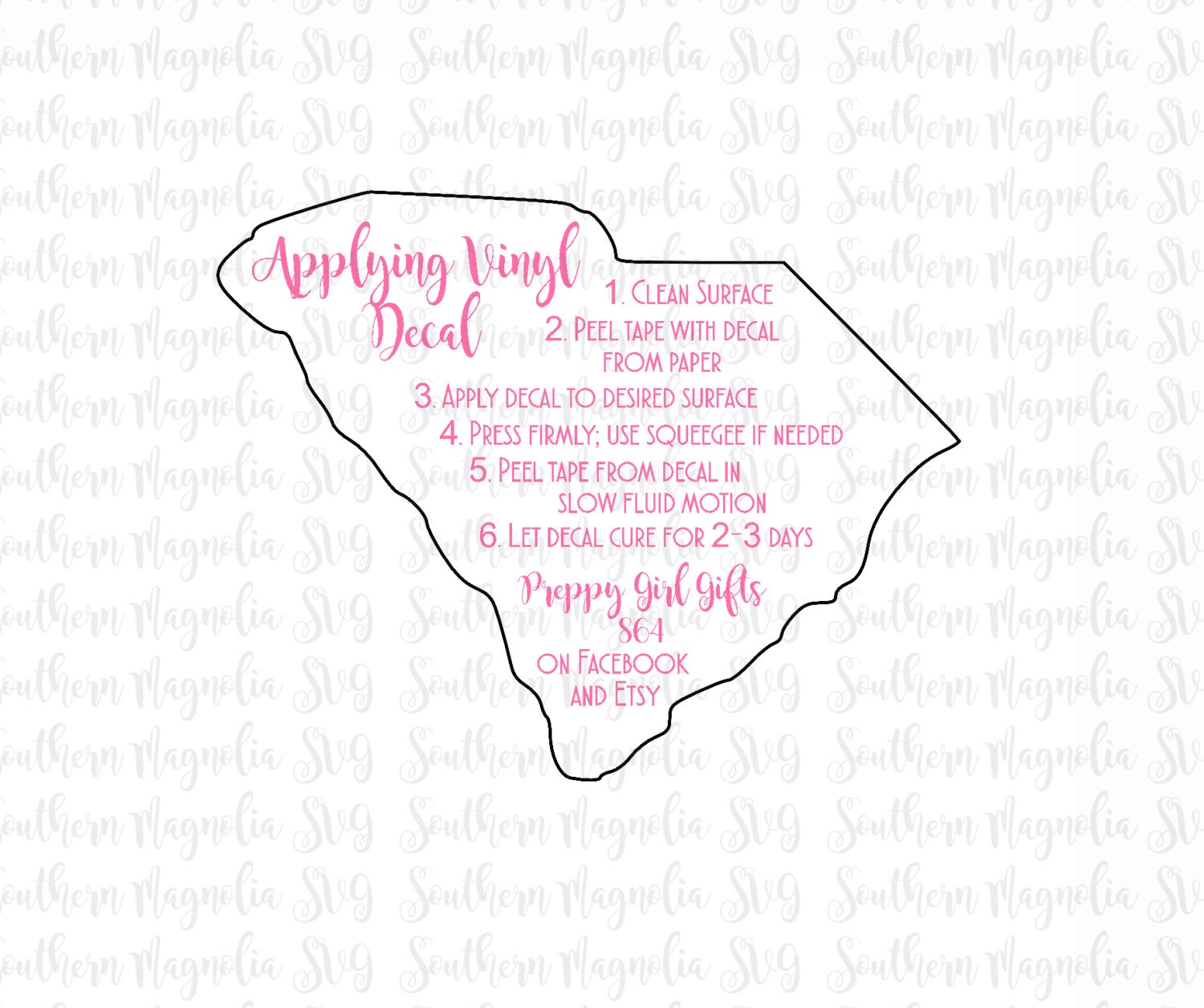 South Carolina Vinyl Application Instruction Card Print And - Custom vinyl decal application instructionscare card printable care card instructions printable care
