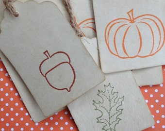 Fall Coffee Stained Gift Tags/Autumn Gift Tags/Rustic Fall Gift Tags/Pumpkin Gift Tags/Acorn Gift Tags/Leaf Gift Tags/Stained Tags/Set of 9