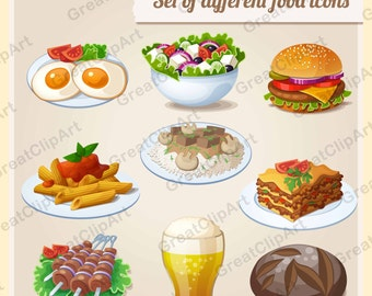 9 Food clipart, Breakfast clipart, sandwiches clipart, salads clipart, eggs clip art, lasagna clip, kebabs art, pasta,scrapbooking clipart