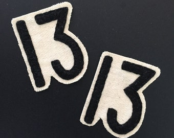 Unlucky 13 - Hand Embroidered Canvas Iron On Patch