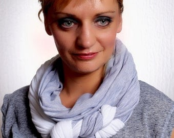 Jersey Infinity Scarf White and Grey with a Braid Detail, Gift for Her, Accessorise