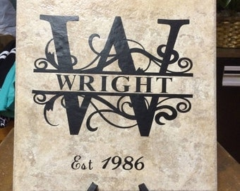 Home Decor Tile With Household Name and Year