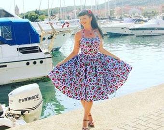 Pinup dress 'Cherry Picker Aqua', PLUS SIZE AVAILABLE, Cherry gathered bust rockabilly dress,