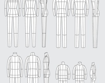 Fashion technical drawing templates