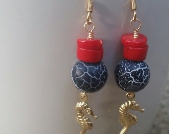 Red and black, gold seahorse earrings