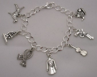 SALE! Sherlock Holmes A Study in Scarlet by Sir Arthur Conan Doyle / CLASSIC LITERATURE / Antique Silver Multi Charm Bracelet