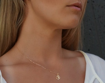SALE om ॐ necklace // 14k gold filled or sterling silver // layering necklace // charm necklace