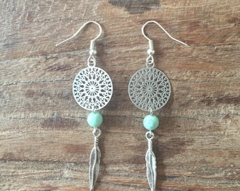 Green dreamcatcher of water and feather earrings