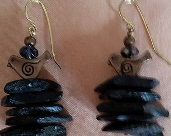 Fekadu-Handmade Black Coral Earrings with 14k gold filled wires