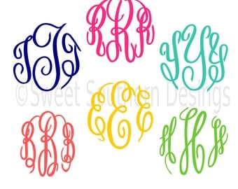 Master Circle Monogram Font Script Cursive font SVG DXF EPS instant download design for cricut ...