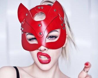 Leather cat mask, kitten mask, halloween cat mask, catwoman mask