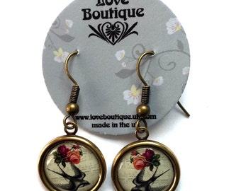 Antique Brass Vintage Style Swallow Earrings