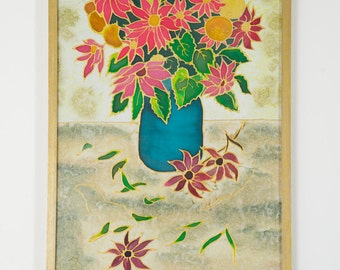 Wall Art. Frame. Handpainted Silk Scarf dyed with silk dyes. Blue vase, flowers. Home decor.
