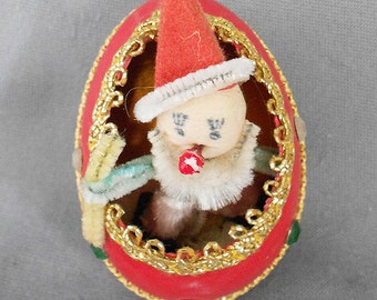 Vintage CLOWN GOOSE EGG Christmas Ornament, Antique Egg Indent Diorama w/ Clown Jeweled Ornament, Mid Century Christmas Ornament, 1950s Rare