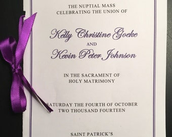 Wedding mass program | Etsy
