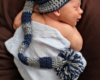 Crocheted Baby Elf Hat Newborn Boy Baby Photo Prop Long Tail Hat Baby Boy Elf Beanie