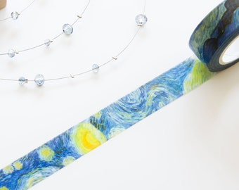Starry Night Washi Tape 15mm/ Stars and Universe/ Blue/ Masking Tape/ Wedding Birthday Party Washi Tape Party Packaging/ Gift Wrapping
