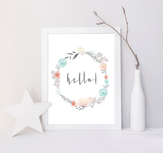 Hello Watercolor Flowers Floral Pastel Seaside Delicate Printable Wall Art Print