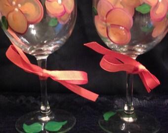 2 piece Violet & Peach Hand Painted Flower Wine Glass Set