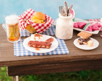 4th of July Summer BBQ Baby Back Ribs and Mashed Potatoes - 1:12 Dollhouse Miniature