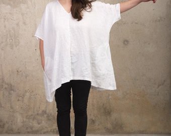 Womens Linen Kimono Blouse - White Tunic - Oversized Kimono Tunic with Pockets - Loose Fit Plus Size Top - Natural Flax - Linen Clothes FW16