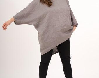 Linen Tunic Dress - Gray Tunic - Oversized Tunic - Loose Fit Tunic - Plus Size Linen Tunic - Handmade Linen Tunic - Womens Linen Clothes