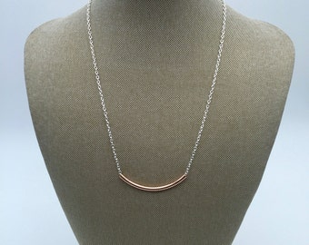 Rose gold plated tube necklace
