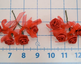 Red Satin Roses with Ribbon