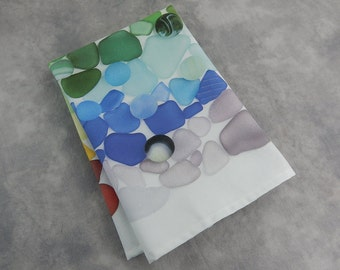 "Sea Glass and Sea Marbles Tea Towel, 100% Cotton, 19"" x 23"", Machine Washable Dish Towel with with seaglass print"