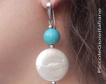 Mallorca pearl earrings. Pearl Earrings. Fashion earrings. Silver Earrings. Modern earrings. Turquoise earrings. Wedding earrings.