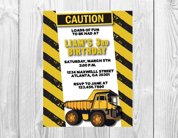 Construction Birthday Party Invitation >> Truck Invite >>  Boys Birthday  >> Any Age << Yellow and Black >> Custom Printable Digital File