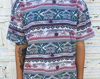 Vintage Shenanigans Funky Pattern Shirt - Women's Large