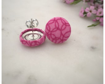 Pink Earrings. Pink Circle Pattern. Handmade Earrings. Fabric Button Earrings. Gifts For Her. Gifts Under 20. Stud Earring. Clip On Earring.