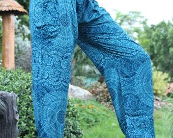 Women Thai Harem Pants Hippie Boho Yoga blue Rose styles