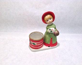 Christmas Girl Jasco Whatnot Candle Votive Holder Luvkins Vintage Jasco 1979