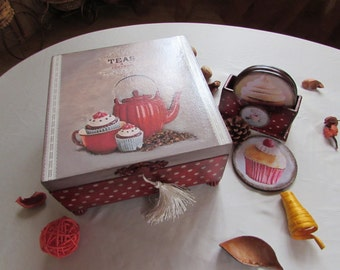 Box for tea bags and coasters