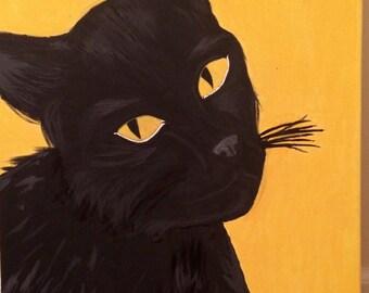 Original Black Cat Acrylic Painting