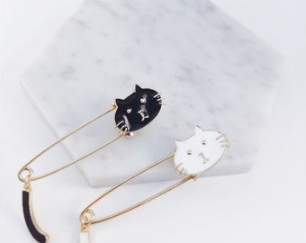 Black and white cat brooch safety pin brooch~ black cat, white cat with tail