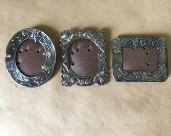 Trio of Miniature Art Nouveau Frames. Vintage Silver-Plated. Lillian Vernon Made in USA Original Box