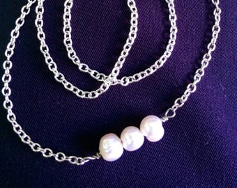 Pearl Necklace, Pearl Bar Necklace, Pearl Jewelry