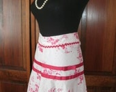 Vintage HALF APRON RETRO 1950s housewife hostess, pink eyelet lace red flowers ribbons rickrack, romantic French cottage chic, Kitchen gift