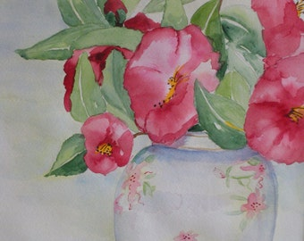 Rosy Camellias -Watercolor, matted