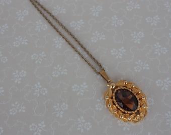 Long 70s Necklace - Brown Glass Cabochon Pendant - Victorian Style Necklace - Gold Tone Vintage Pendant