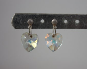 Aurora Borealis Heart Earrings - AB Crystal Earrings - Silver Stud Drop Earrings - Vintage Wedding Earrings