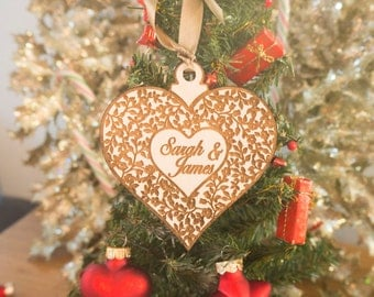 Christmas Decorations - Christmas Ornaments - His and Hers - Heart Ornaments - Engagement Ornament - Personalized Christmas Ornaments