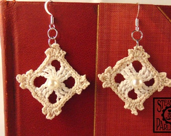 White and Cream Lace Earrings with Pearl Bead