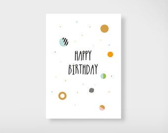 "Greeting card ""Happy birthday"" with gold"