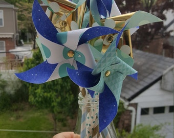 Paper Pinwheels - Blue & Gold Theme (Set of 6)